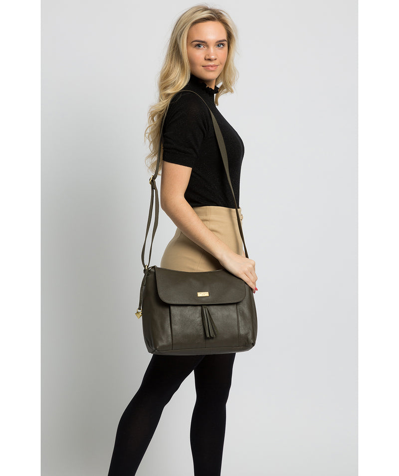 'Lily' Olive Leather Cross Body Bag image 2