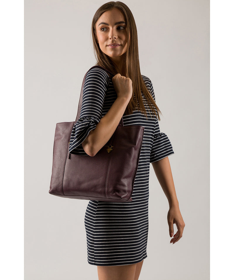 'Kimberly' Fig Leather Tote Bag image 2