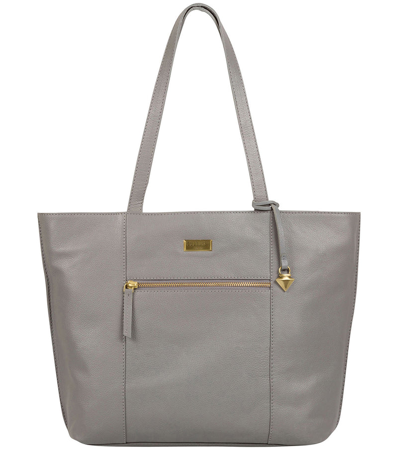 'Kimberly' Silver Grey Leather Tote Bag image 1