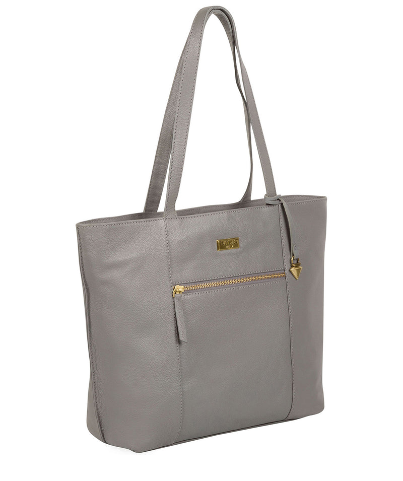'Kimberly' Silver Grey Leather Tote Bag image 3