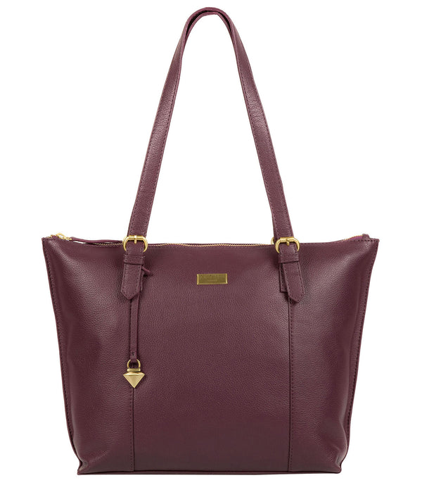 'Trinity' Fig Leather Tote Bag image 1