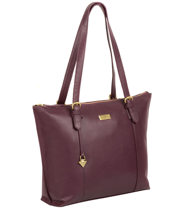 'Trinity' Fig Leather Tote Bag image 3