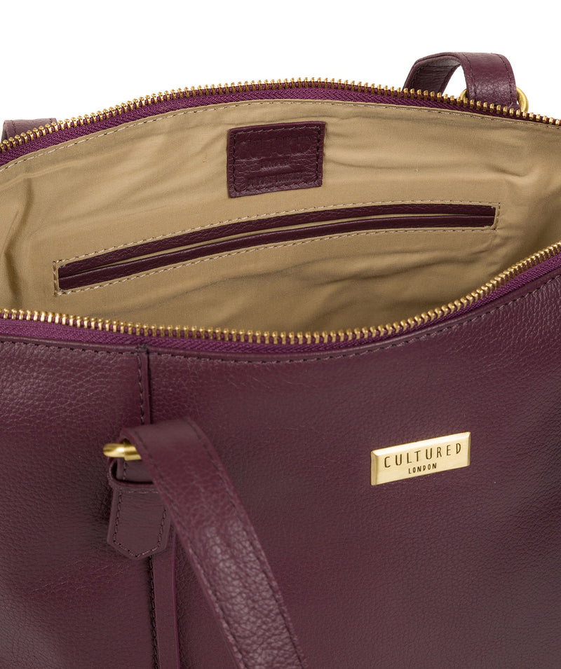'Trinity' Fig Leather Tote Bag image 4