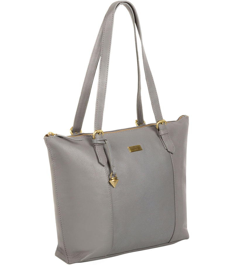 'Trinity' Silver Grey Leather Tote Bag image 3
