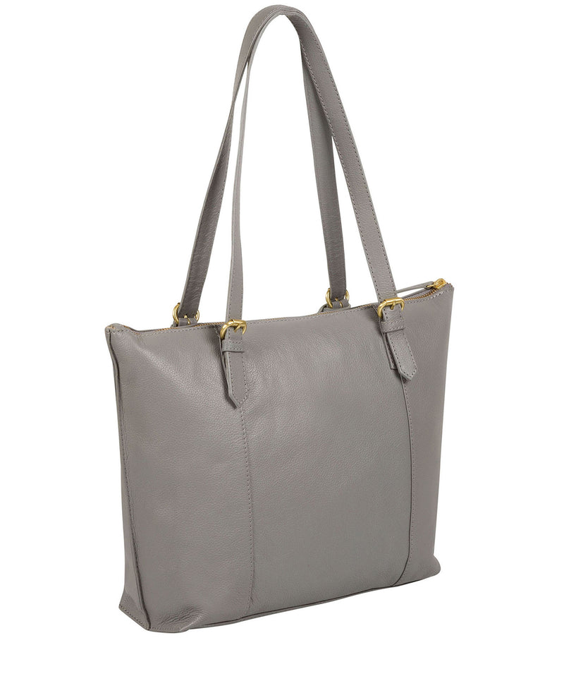 'Trinity' Silver Grey Leather Tote Bag image 7