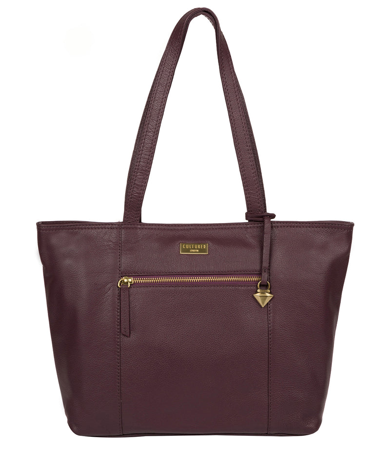 'Maya' Fig Leather Tote Bag image 1