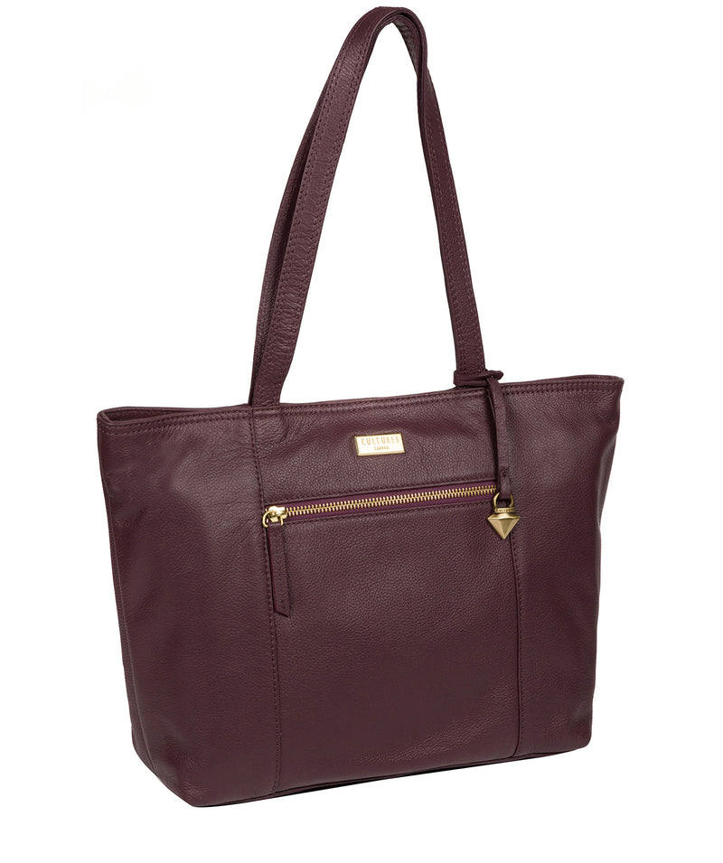 'Maya' Fig Leather Tote Bag image 5