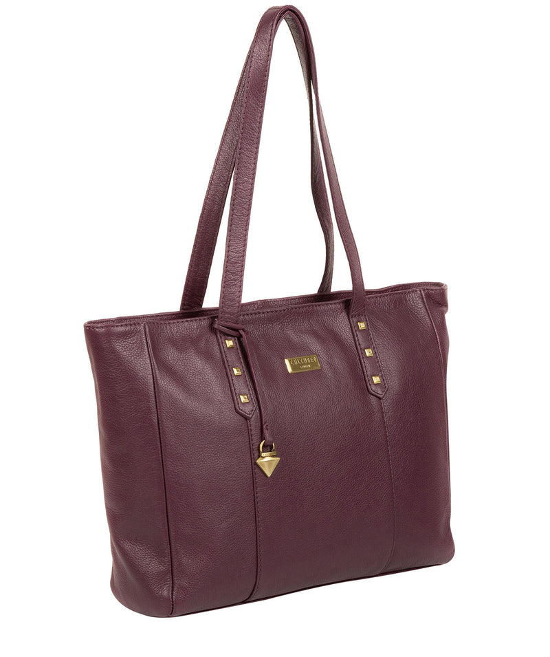 'Avery' Fig Leather Tote Bag image 3