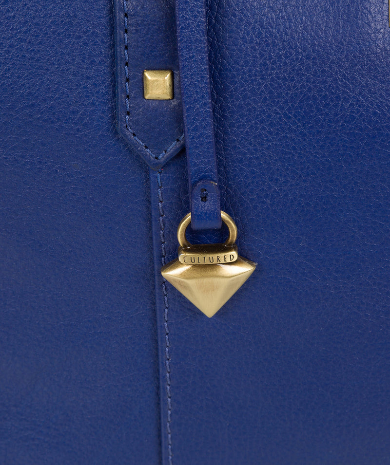 'Avery' Mazarine Blue Leather Tote Bag image 6