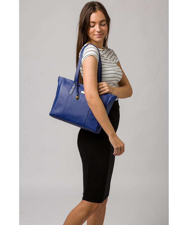 'Avery' Mazarine Blue Leather Tote Bag Pure Luxuries London