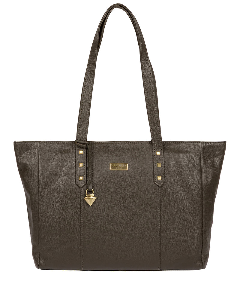 'Avery' Olive Leather Tote Bag image 1