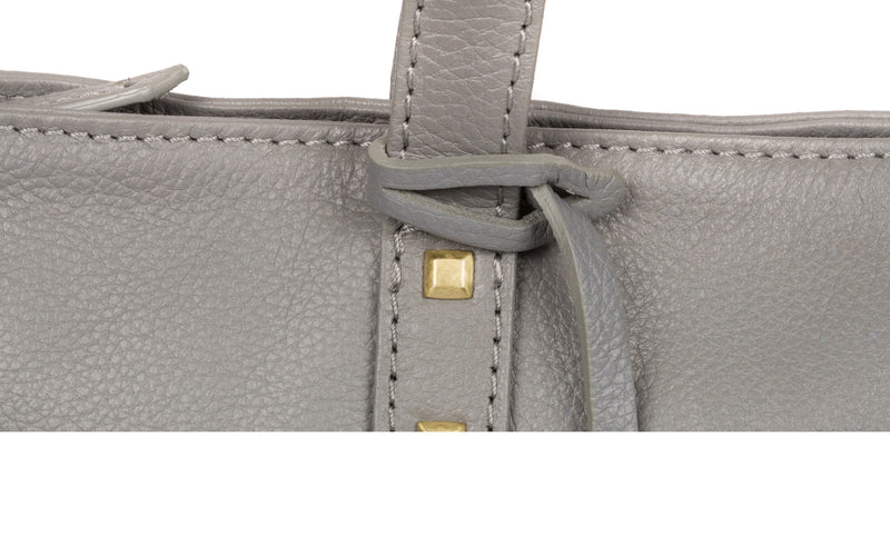 'Avery' Silver Grey Leather Tote Bag Pure Luxuries London