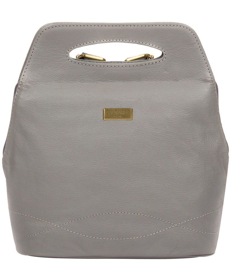 'Priya' Silver Grey Leather Backpack  image 1