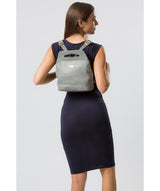 'Priya' Silver Grey Leather Backpack  image 2