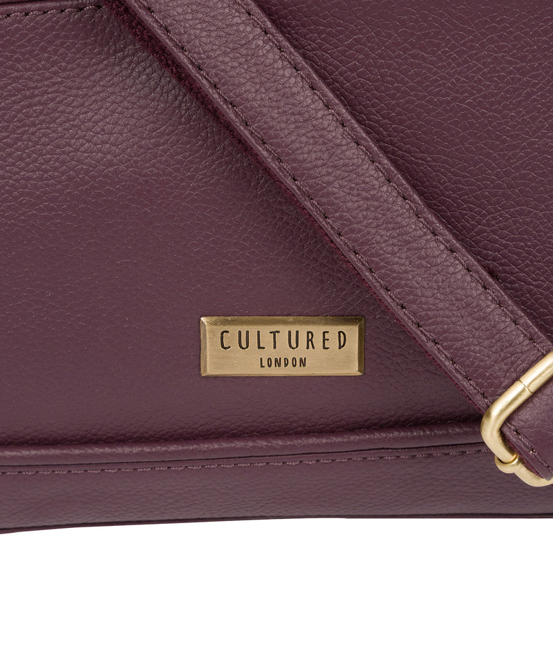 'Duana' Fig Leather Shoulder Bag image 5