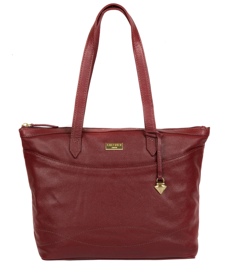 'Oriana' Ruby Red Leather Tote Bag image 1