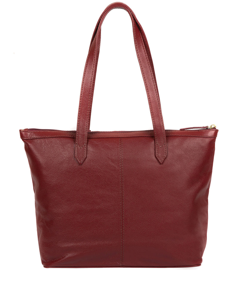 'Oriana' Ruby Red Leather Tote Bag image 3