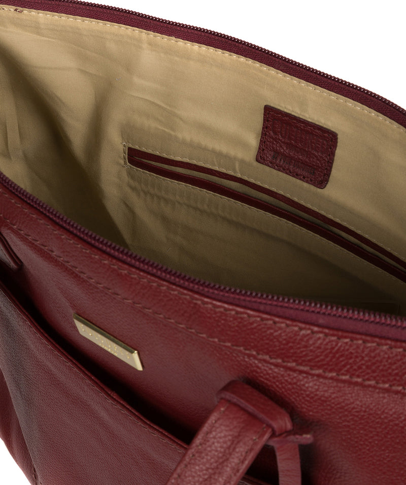 'Oriana' Ruby Red Leather Tote Bag image 4