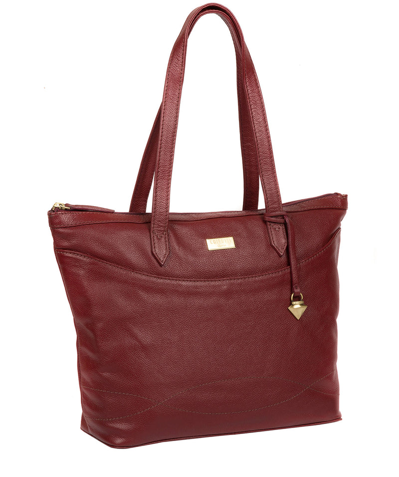 'Oriana' Ruby Red Leather Tote Bag image 5