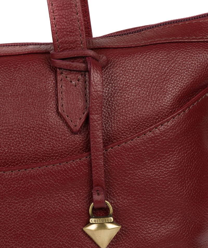 'Oriana' Ruby Red Leather Tote Bag image 6