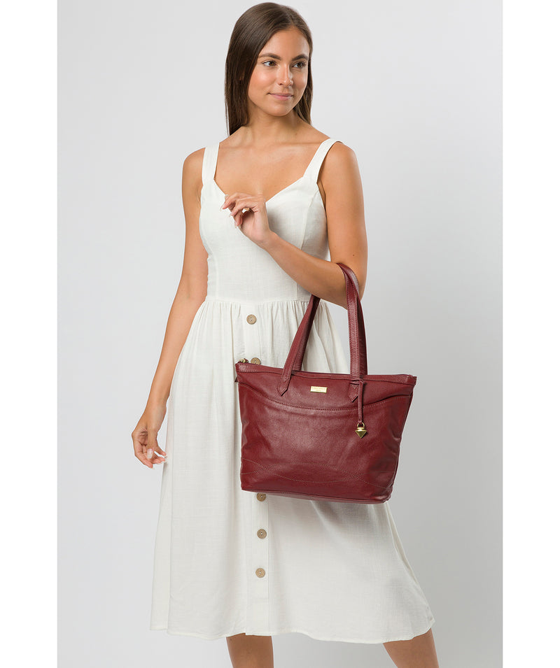 'Oriana' Ruby Red Leather Tote Bag image 2