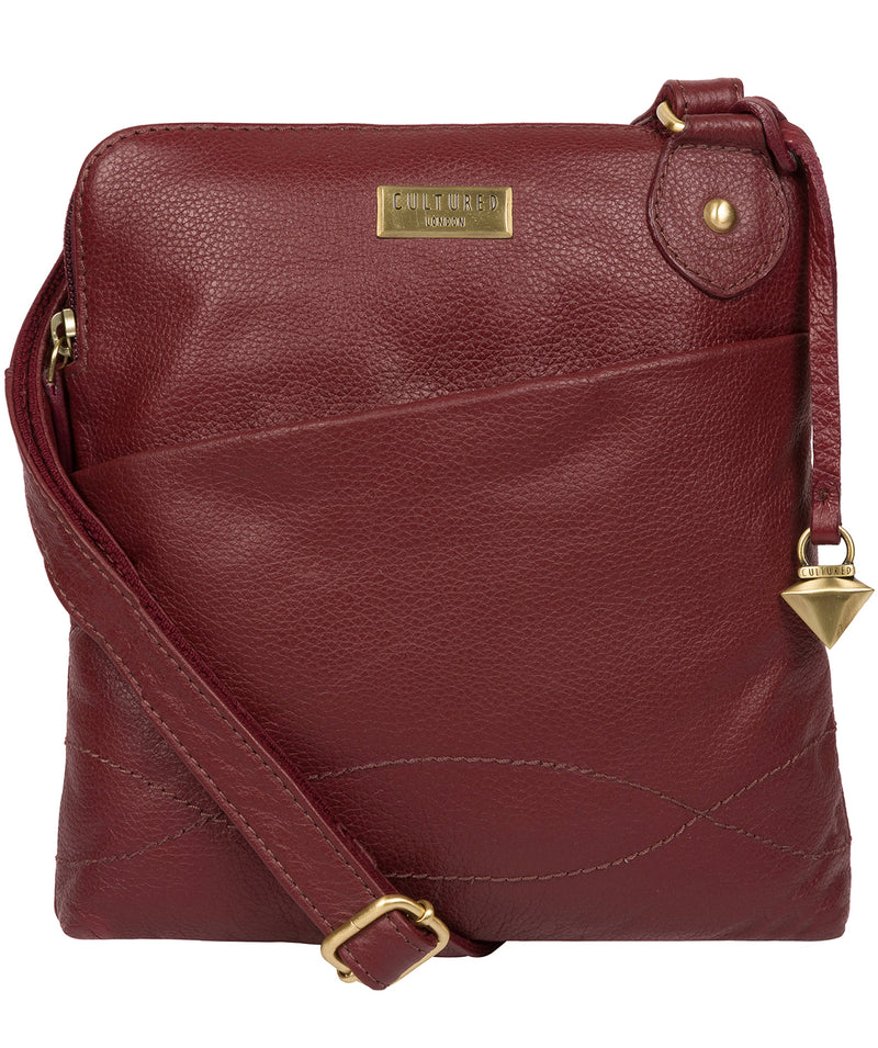 'Jarah' Ruby Red Leather Cross Body Bag image 1
