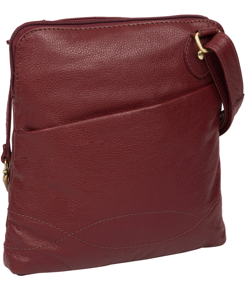 'Jarah' Ruby Red Leather Cross Body Bag image 3