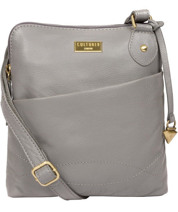 'Jarah' Silver Grey Leather Cross Body Bag image 1