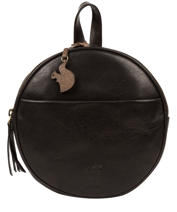'Hoop' Black Small Leather Backpack Pure Luxuries London