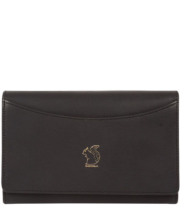 'Kali' Smooth Black Leather Purse
