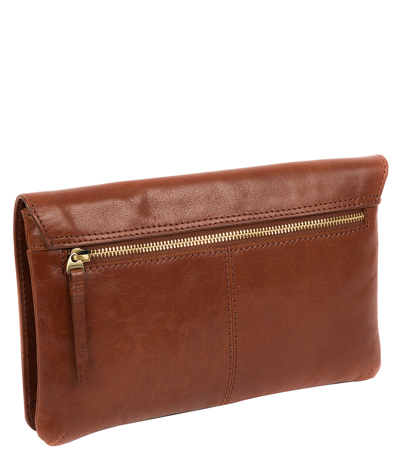 'Cherish' Conker Brown Leather Clutch Bag