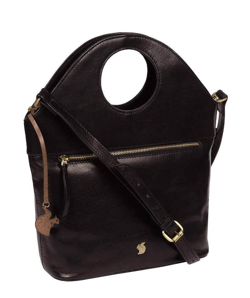 'Halo' Black Leather Cross Body Bag