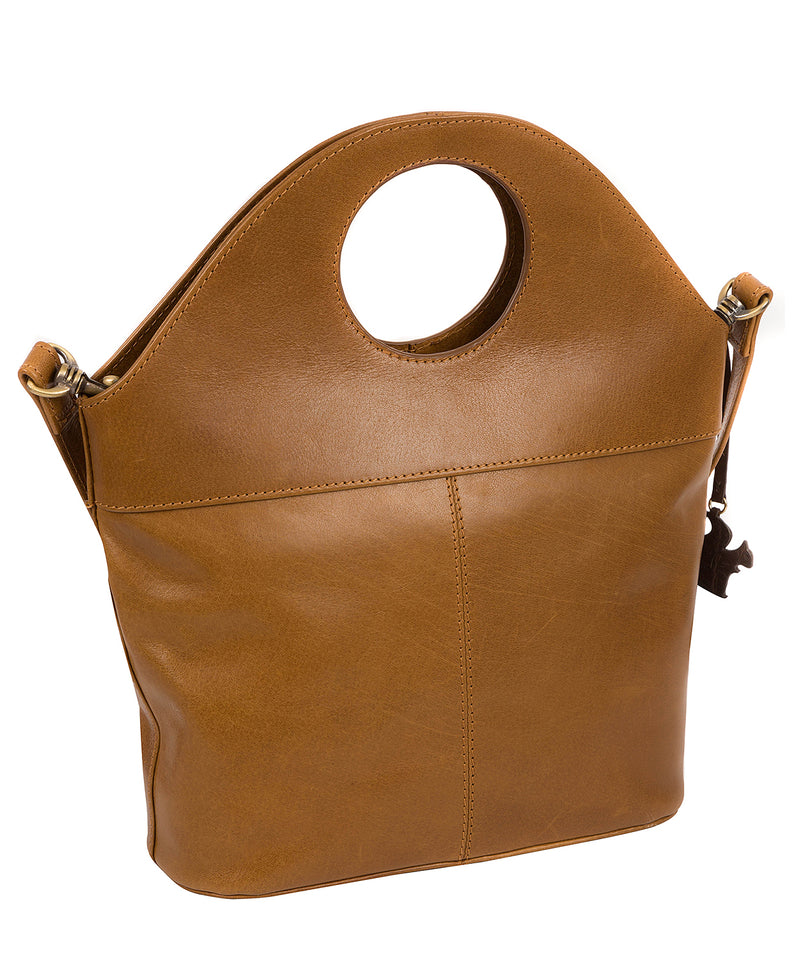 'Halo' Dark Tan Leather Cross Body Bag