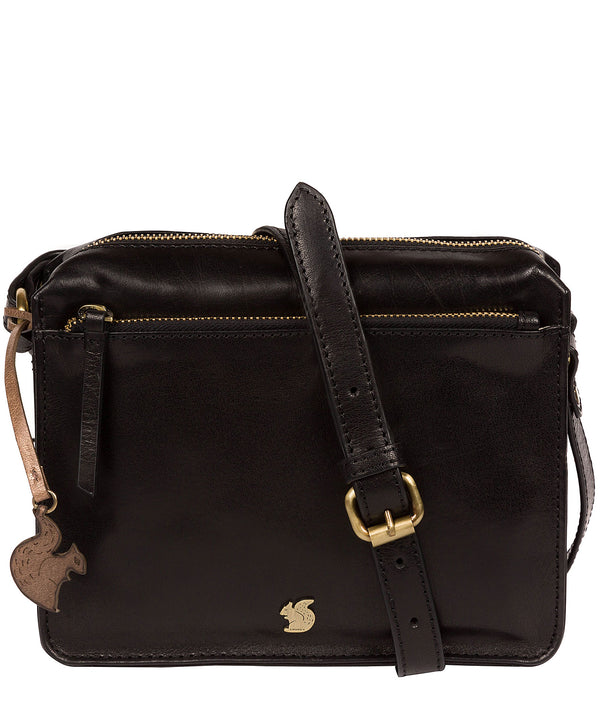 'Aurora' Black Leather Cross Body Bag