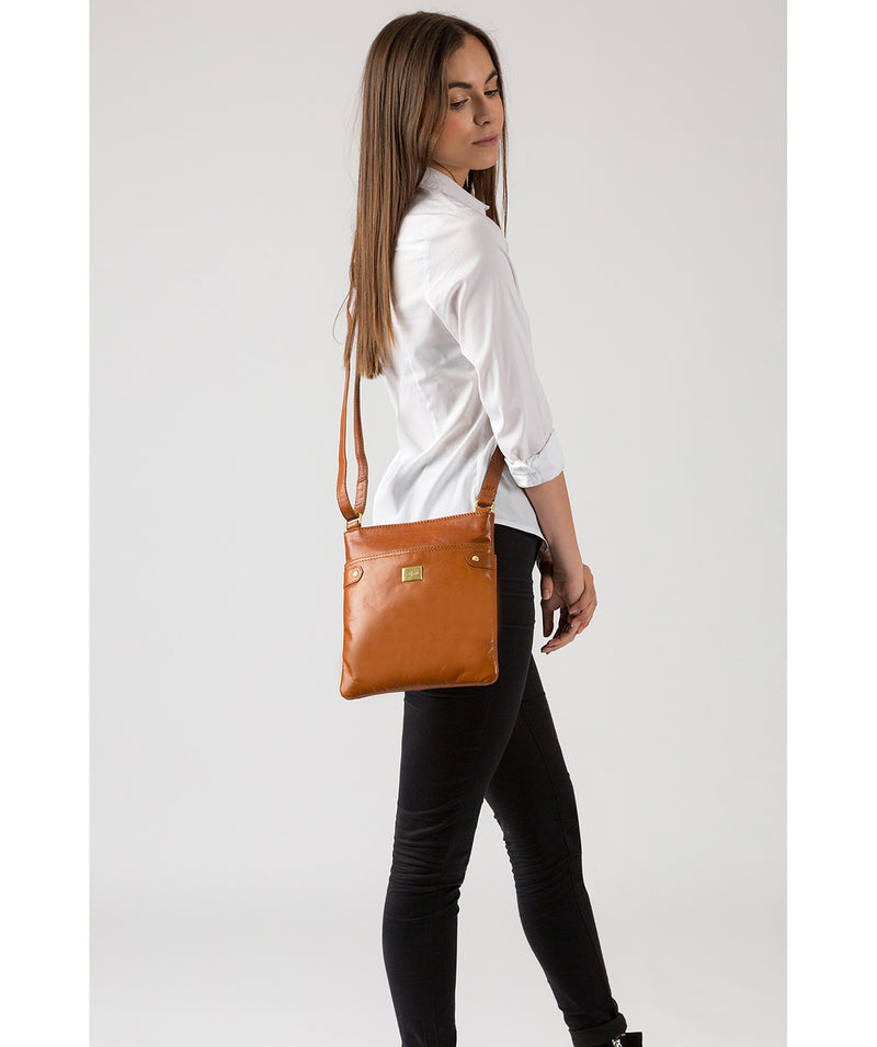 'Siena' Italian Tan Leather Cross Body Bag Pure Luxuries London
