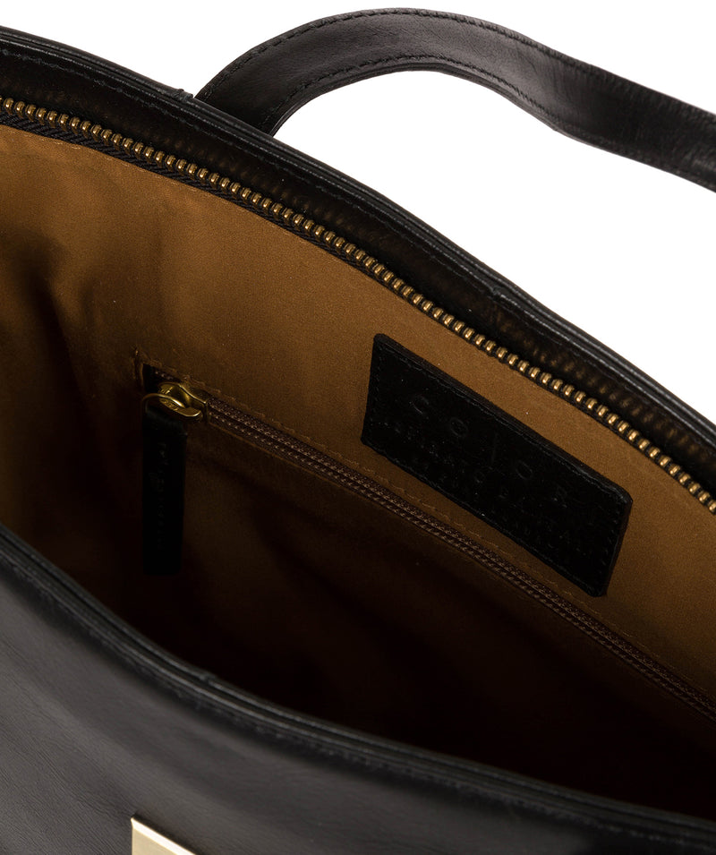 'Mazara' Italian-Inspired Black Leather Tote Bag image 4