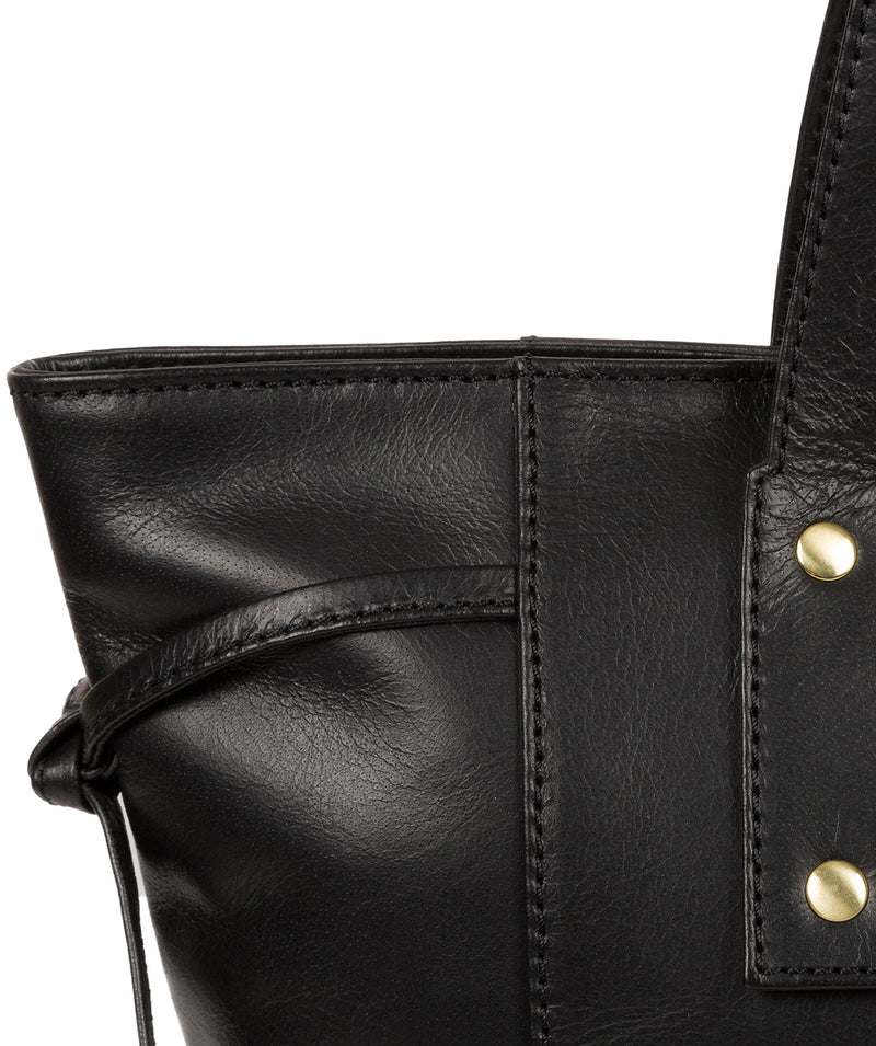 'Mazara' Italian-Inspired Black Leather Tote Bag image 6