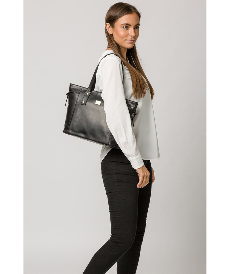'Mazara' Italian-Inspired Black Leather Tote Bag image 2