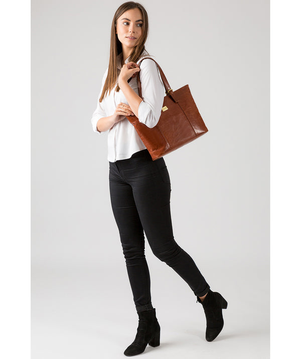 'Bianca' Italian-Inspired Chestnut Leather Tote Bag  image 7