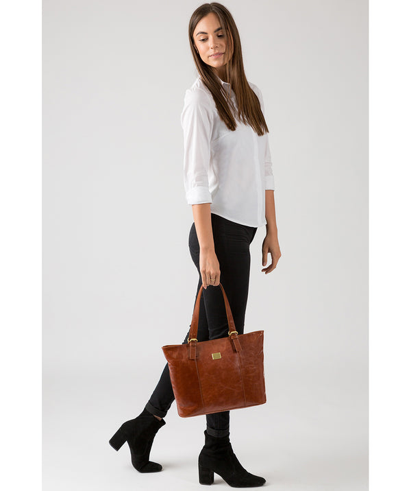 'Bianca' Italian-Inspired Chestnut Leather Tote Bag  image 2