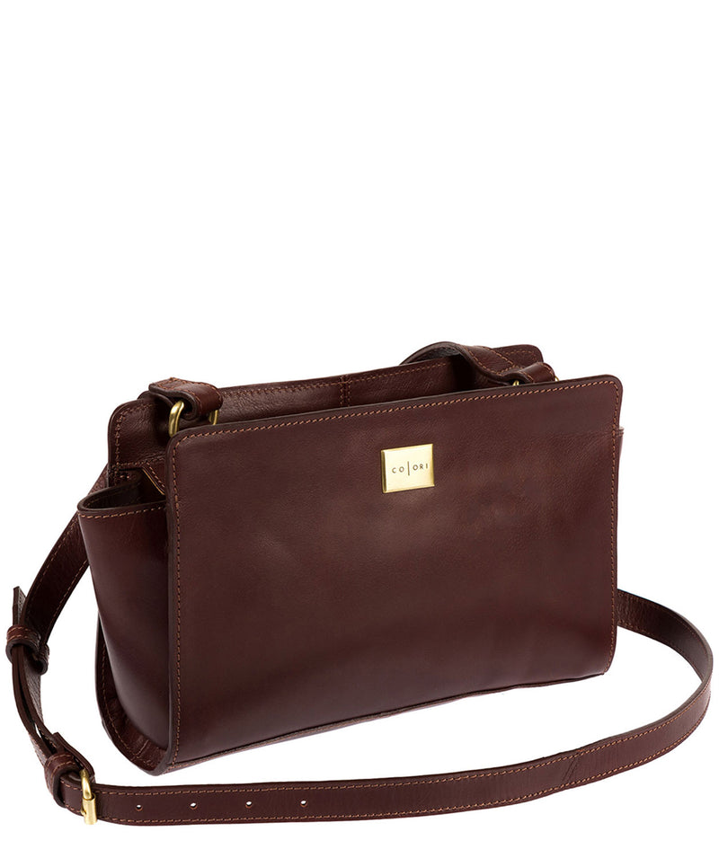 'Valentina' Italian-Inspired Brown Leather Cross Body Bag