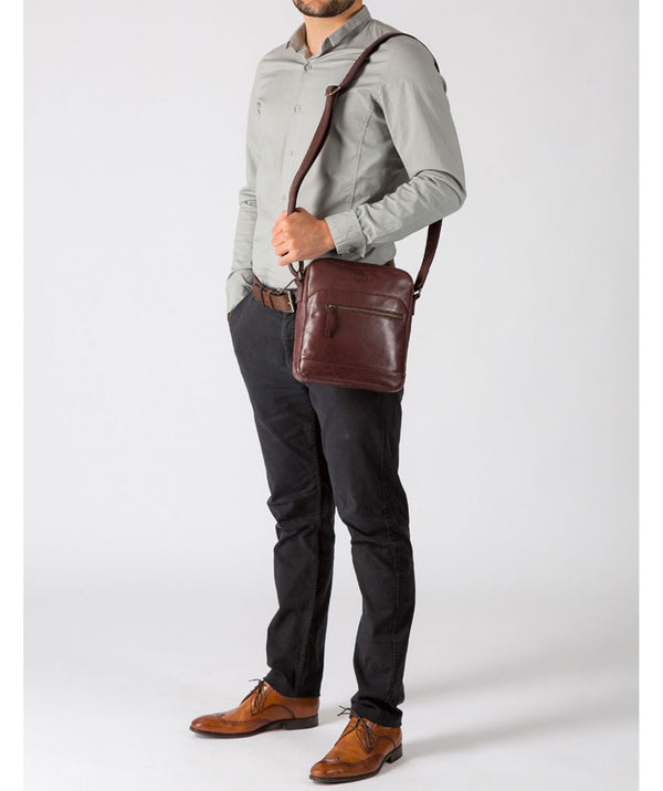 'Anzio' Italian-Inspired Brown Leather Despatch Bag