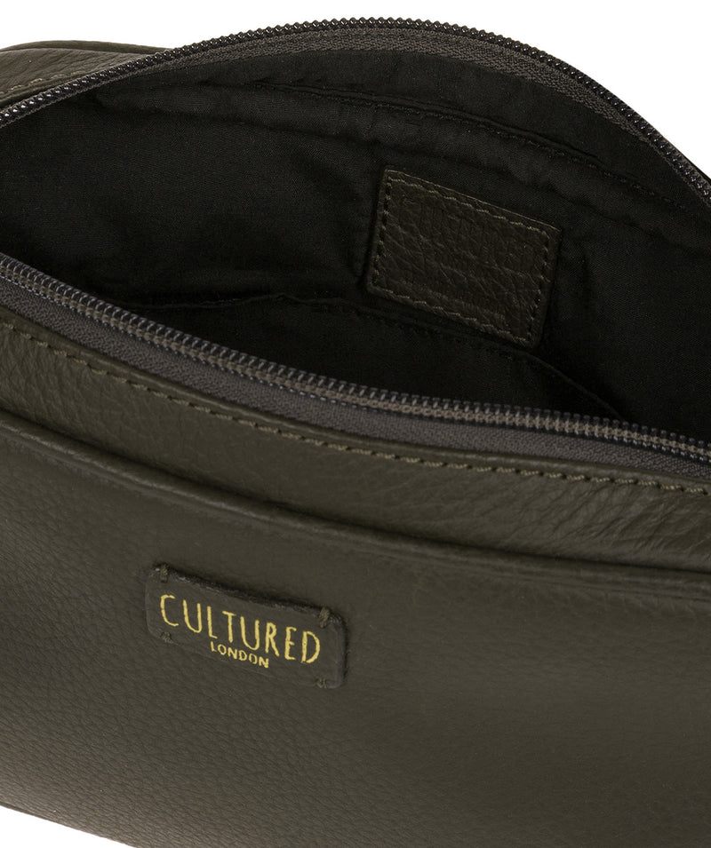 'Giulia' Olive Leather Small Cross Body Bag image 3