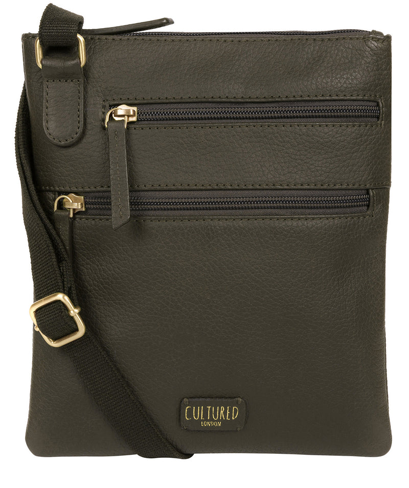 'Heloise' Olive Leather Small Cross Body Bag image 1