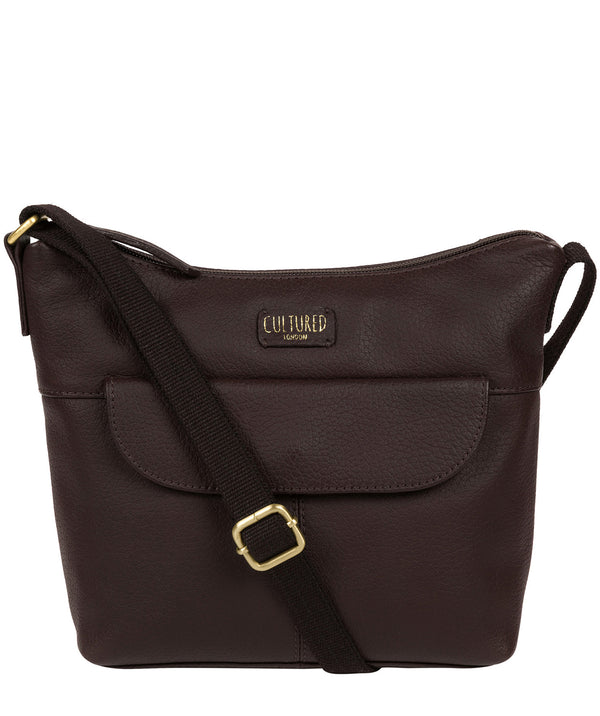 'Amel' Dark Chocolate Leather Small Cross Body Bag image 1