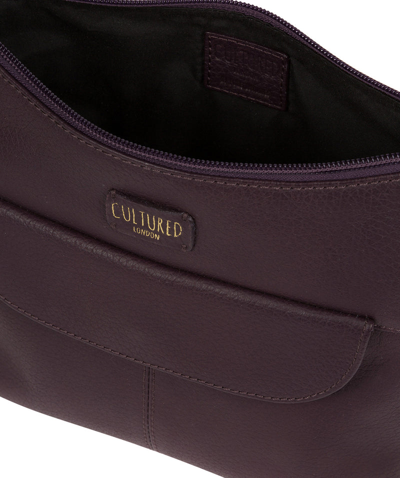 'Amel' Plum Leather Small Cross Body Bag image 3
