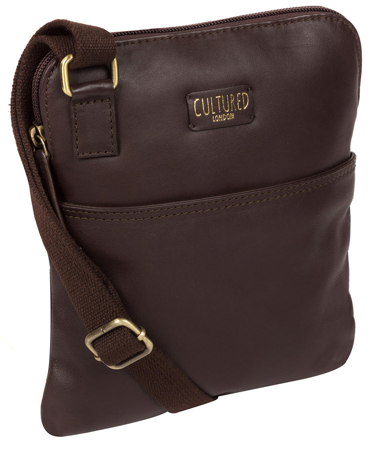 'Marqaux' Brown Leather Cross Body Bag image 5