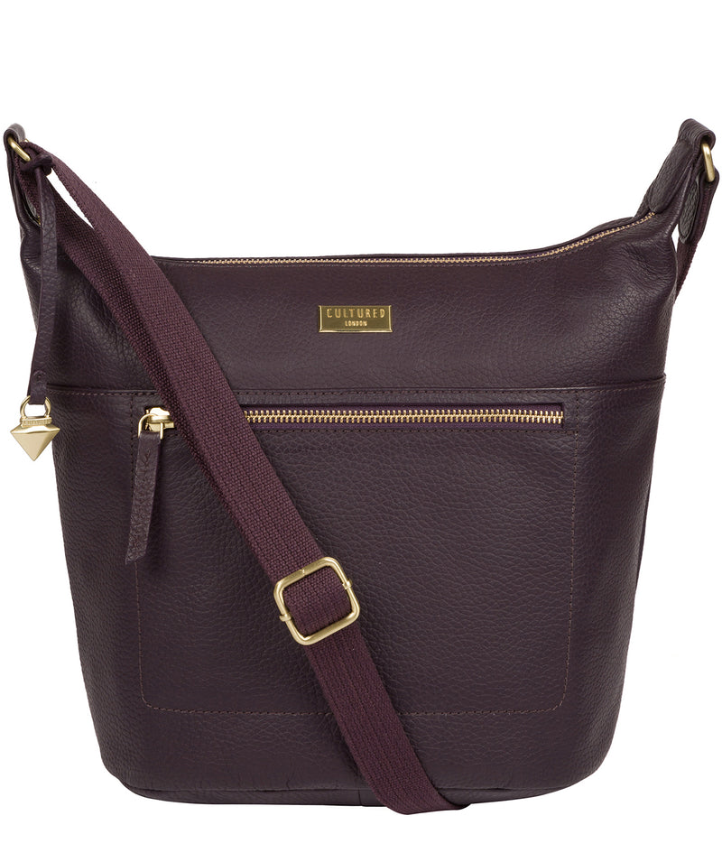 'Paula' Fig Leather Cross Body Bag Pure Luxuries London