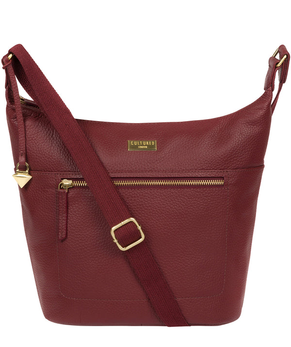 'Paula' Ruby Red Leather Cross Body Bag image 1