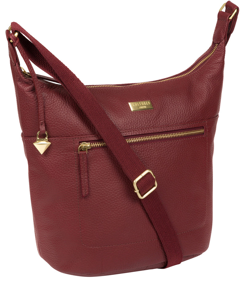 'Paula' Ruby Red Leather Cross Body Bag Pure Luxuries London